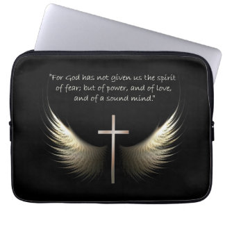 Holy Spirit with Christian Cross and Scripture Laptop Sleeve