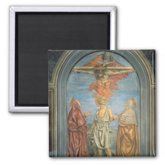 Holy Trinity with St. Jerome (fresco) Square Magnet
