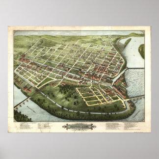Holyoke Massachusetts 1877 Antique Panoramic Map Poster