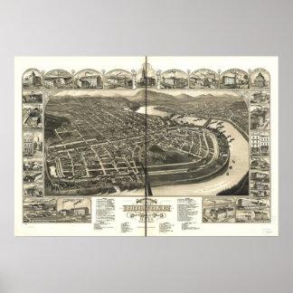 Holyoke Massachusetts 1881 Antique Panoramic Map Poster