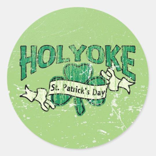Holyoke St. Patrick's Day Vintage Retro Round Sticker