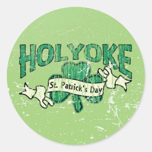 Holyoke St. Patrick's Day Vintage Retro Round Stickers