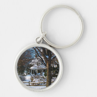 Home After the Snowstorm Silver-Colored Round Key Ring