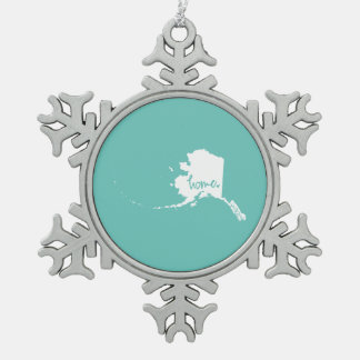 Home Alaska Custom Color Snowflake Pewter Christmas Ornament