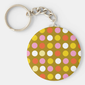 Home and business, bright color polka dots. basic round button key ring