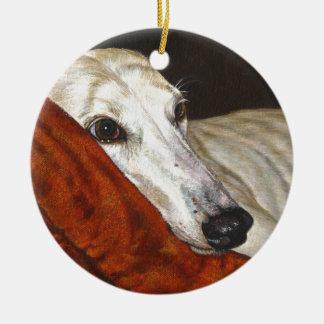 Home At Last Greyhound Dog Round Ceramic Decoration