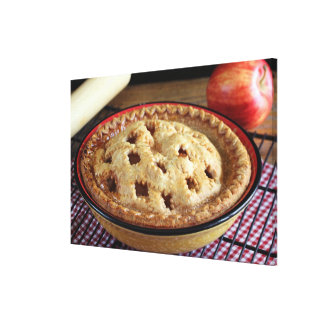 Home baked apple pie on cooling rack with apple canvas print