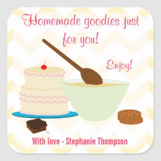 Home Baked Goodies Gift Tag Square Sticker