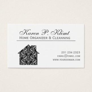 Home Black Lace Vintage Damask Interior Design Business Card