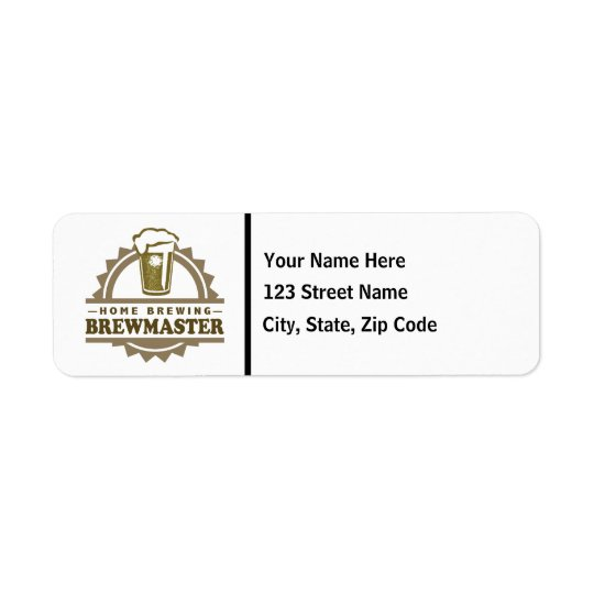 Home Brew Beer Brewmaster Return Address Label
