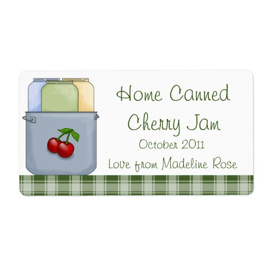 Home Canned Cherry Jam Jar Label (Personalise)