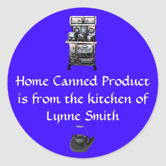 Home Canning Label Old Stove, personalized Round Sticker