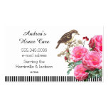 Home Care Pink Roses and Bird Pack Of Standard Business Cards