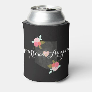 Home City Arizona State Floral & Moveable Heart Can Cooler