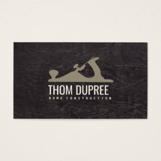 Home Construction and Carpentry Wood Plane Logo 3 Business Card