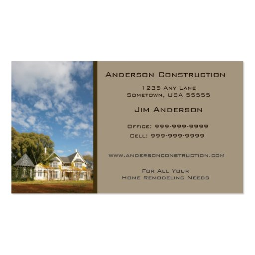 Home Construction Business Card - Taupe