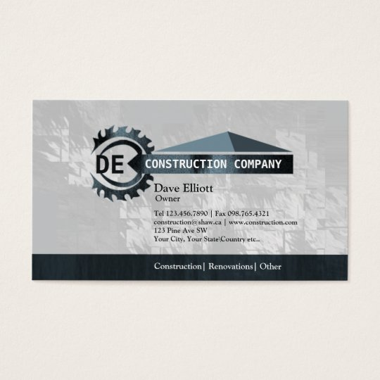 Home construction monogram business cards
