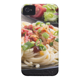 Home-cooked meals on a gray mat - spaghetti iPhone 4 Case-Mate cases