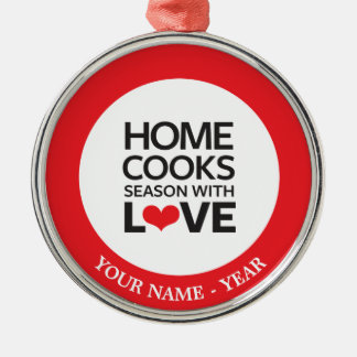 Home Cooks Season With Love Silver-Colored Round Decoration