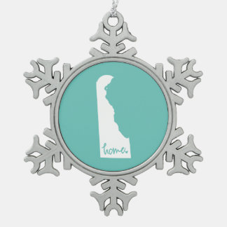 Home Delaware Custom Color Snowflake Pewter Christmas Ornament