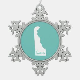 Home Delaware Custom Color Snowflake Pewter Christmas Ornament