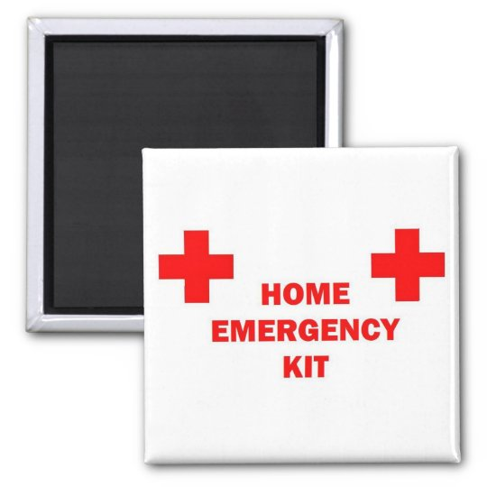Home Emergency Kit Square Magnet