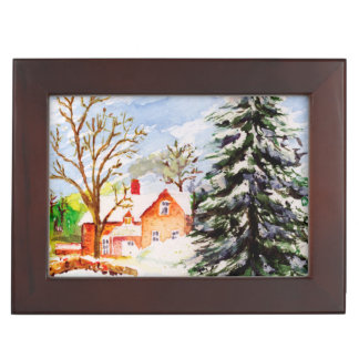 Home for Christmas Snowy Winter Scene Watercolor Keepsake Boxes