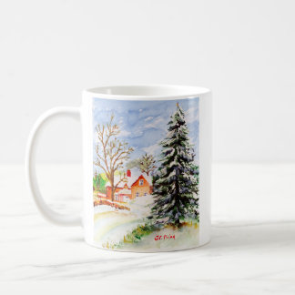 """Home for Christmas"" Snowy Winter Scene Watercolor Coffee Mug"