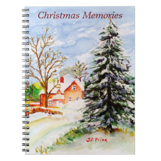 Home for Christmas Snowy Winter Scene Watercolor Spiral Notebook