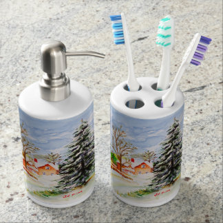 Home for Christmas Snowy Winter Scene Watercolor Soap Dispenser And Toothbrush Holder