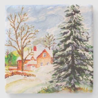 Home for Christmas Snowy Winter Scene Watercolor Stone Beverage Coaster