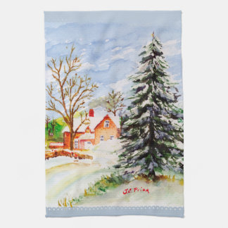 Home for Christmas Snowy Winter Scene Watercolor Kitchen Towels