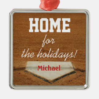 Home For The Holidays Baseball Homeplate Christmas Silver-Colored Square Decoration