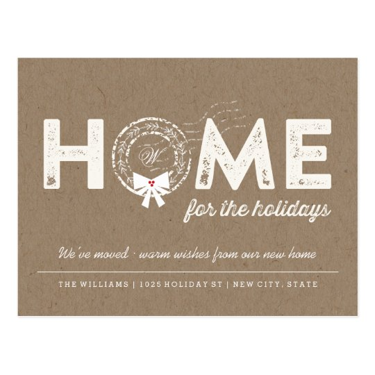 Home For The Holidays Moving Announcement PostCard