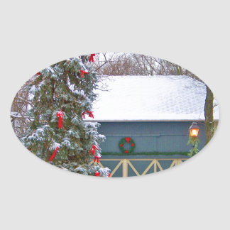 HOME FOR THE HOLIDAYS OVAL STICKER