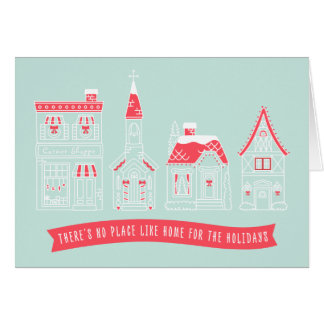 Home for the Holidays Village Greeting Card