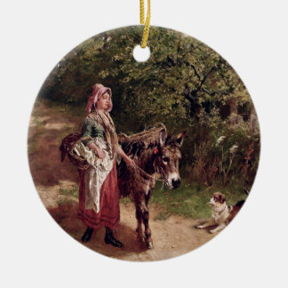 Home from Market (oil on canvas) Christmas Ornament