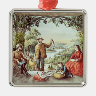Home from the Brook, The Lucky Fishermen Silver-Colored Square Decoration