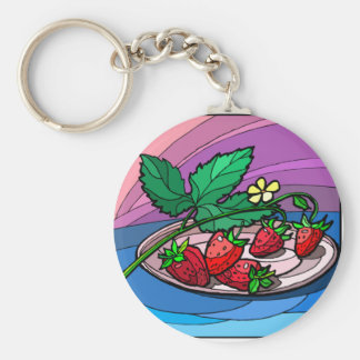 Home Grown Strawberries Basic Round Button Key Ring