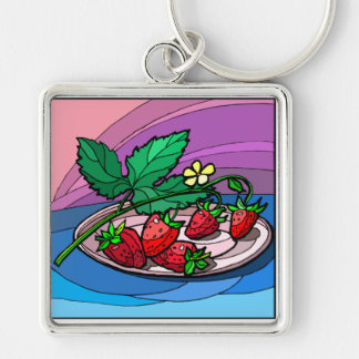 Home Grown Strawberries Silver-Colored Square Key Ring