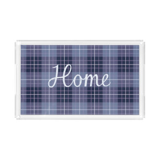 Home in Lilac on Plaid Ptn Blues & Purples Acrylic Tray