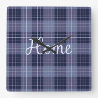 Home in Lilac on Plaid Ptn Blues & Purples Clocks