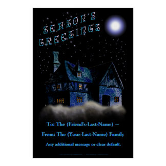 Home In The Sky (Personalized Holiday Door Poster) Poster