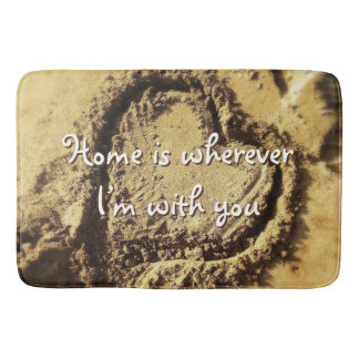 """Home is"" quote heart drawn in sand photo bath mat"