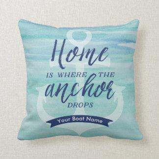 Home is Where the Anchor Drops - (Aqua green/Navy) Cushion
