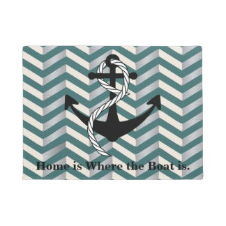 Home is Where the Boat is Geometric Nautical Mat