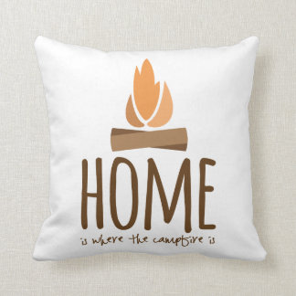 Home Is Where the Campfire Is Throw Pillow