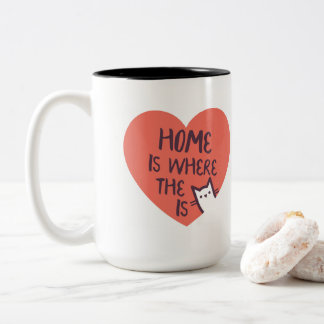 Home is where the cat is Two-Tone coffee mug
