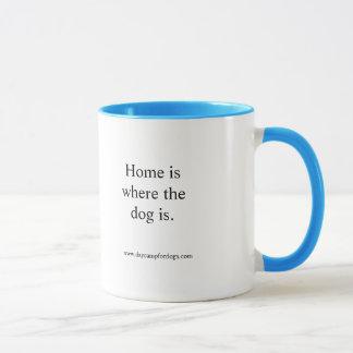 """Home is where the dog is."" Mug"