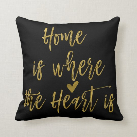 Home is Where the Heart Is Inspirational Quote Throw Pillow